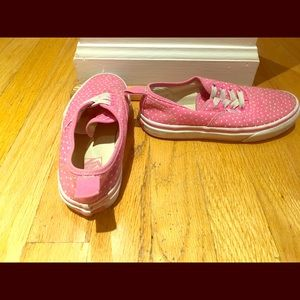 Pink Vans Slip-ons w/ white hearts. Size 1.5